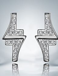 Flash Lighting Design Earring Silver Plated Unique Design Stud Earrings