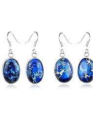 superbe cadeau naturelles Imperial Blue jaspe précieuses argent 925 boucles d'oreilles pour la noce quotidiennes 1pairs de vacances