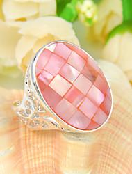 familie gift ovale brand roze abalone schelp gem 925 zilveren verklaring bloem ringen voor bruiloft dagelijkse ongedwongen 1pc