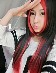 The New Cos Anime Wigs Black And Red Double Color Mixed  Character Long Straight  Hair Wigs