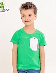 2015 Boy's Summer Cotton Unique Pocket Design Green T-shirts Short Sleeve Tees Leisure Children's Clothing Kids Clothes
