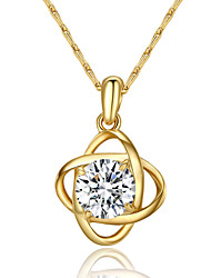 T&C Women's Concise 18k Yellow Gold Plated Clear Simulated Diamond Crystal Flower Pendant Necklace