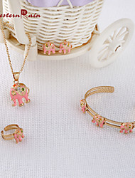 Westernrain Gift for Your Girl /Gold plated Pink  elephant Pendants Necklace Set /Children's gift jewelry for kid Baby