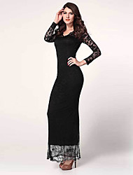 Women's Sexy Beach Casual Party Plus Size V Neck Bodycon Lace Maxi Dress