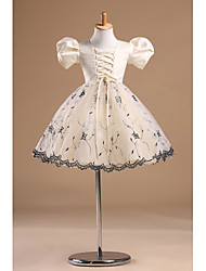 Princess Knee Length Flower Girl Dress - Tulle Short Sleeves Bateau Neck