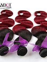 """8 """"-28"""" 4pcs 2 dos tonos tejidos de pelo pelo de la onda del cuerpo 1b / 99 humano virginal cuerpo peruano onda del pelo"""