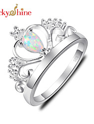 Lucky Shine Women's/Kid's Silver Unique Crown Ring With White Fire Opal Crystal