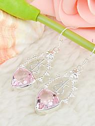 récents cadeau en forme de triangle rose topaze feu précieuses argent 925 boucles d'oreilles pour la noce quotidiennes 1pairs de vacances