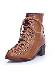 Women's Shoes Faux Leather Chunky Heel Fashion Boots Boots Casual Black/Brown
