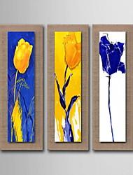 живопись маслом украшения цветок ручной росписью холст с натянутой в рамке - набор из 3