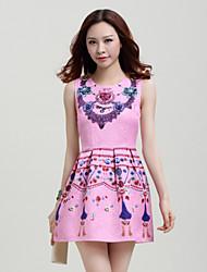 Women's Print Blue/Pink/Yellow Dress , Casual Crew Neck Sleeveless