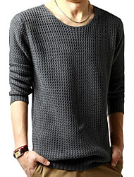 R-Warm Men's Round Sweaters , Cotton Blend Long Sleeve Casual Button All Seasons