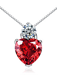 Jazlyn® Woman Platinum Plated 925 Sterling Silver Heart Red Cubic Zirconia Necklace Pendant Valentine's Day Gift