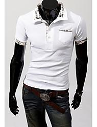 Men's Short Sleeve Polo , Cotton Blend Casual / Work / Formal / Sport / Plus Sizes Plaids & Checks / Pure