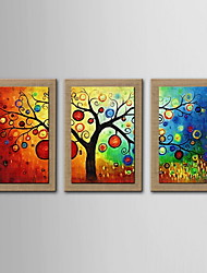 Oil Painting Decoration Abstract Lucky Tree Hand Painted Natural linen with Stretched Framed - Set of 3