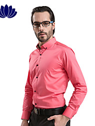 100% Cotton Orange Men Shirts Black Button Long sleeve Pure Color  Printed Inner of Shoulder Collar Cuff(6206)
