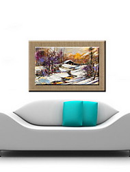 Oil Paintings One Panel Modern Abstract Snow  Hand-painted Natural Linen Ready to Hang
