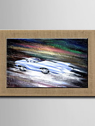 Oil Paintings One Panel Modern Abstract Racing Hand-painted Natural Linen Ready to Hang