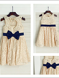 Flower Girl Dresses Tea-length A-line Jewel Dress