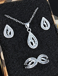Wedding Jewelry Dress Silver Plated Necklace/Earrings/Ring Jewelry Sets