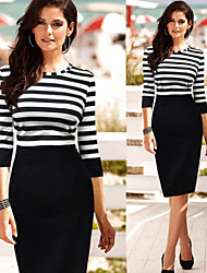 Women's Striped Black / Green Dresses , Bodycon / Casual / Party Round ¾ Sleeve