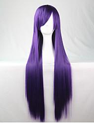 Lattichanimeperücke bunten Perücken lila langen glatten Haaren Perücke 80 cm