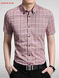 M-5XL High-Quality Mens Shirts Fashion 2015 short Sleeve Shirt
