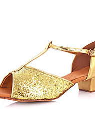 Women's/Kids' Dance Shoes Belly/Latin/Yoga/Tap/Salsa Sparkling Glitter Low Heel Gold