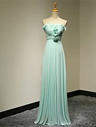 Formal Evening Dress - Pool A-line Strapless Floor-length Chiffon