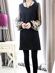 Women's Casual Print Mesh Splice Long Sleeve Above Knee Dress (Cotton Blends)