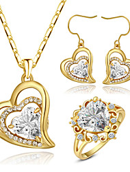 HKTC Classic 18k Yellow Gold Plated Clear Cubic Zirconia Simulated Diamond Heart Earrings and Necklace and Ring Set