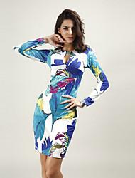 Women's Sexy Bodycon Casual Party Night Club Long Sleeve Print Slim Dress