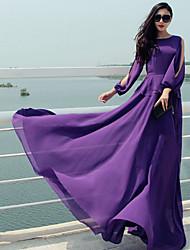 Women's Round Split Dresses , Chiffon Vintage/Party Long Sleeve SASA
