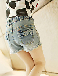 Girl's  Fashion Leisure Bowknot Cowboy  Short Sleeve Shorts