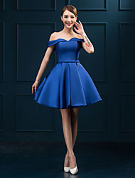 Cocktail Party Dress Plus Size Ball Gown Off-the-shoulder Short / Mini Satin with Sash / Ribbon