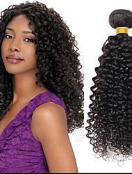 """venda quente 8 """"-24"""" cabelo virgem brasileira encaracolado profundo, cor 1b natural preto, cabelo humano cru tece."""