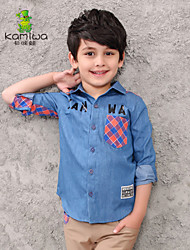 KAMIWA®Boy's Winter/Spring/Fall Thin Long Sleeve Letter Cowboy Turn-down Collar Kids Tees/Shirts/Jeans(Cotton)