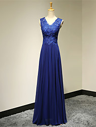 Formal Evening Dress A-line V-neck Floor-length Chiffon with Appliques