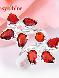 Lucky Shine Special Unisex Silver Rings With Gemstone 8X Red Quartz Crystal Holiday Gift