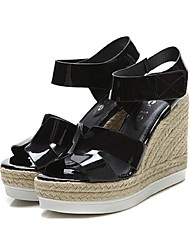 Women's Shoes Wedge Heel Wedges/Open Toe Sandals Casual Black/White/Silver