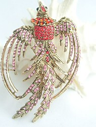 Women Accessories Gold-tone Pink & Red Rhinestone Crystal Phoenix Brooch Art Deco Crystal Brooch
