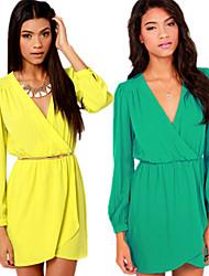 Women's Casual/Work V-Neck Long Sleeve Dresses (Polyester)