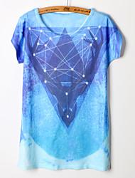 Kortermet T-skjorte Rund hals Bomullsblandinger Kvinner