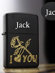 Personalized Gift Rose Design Stylish Steel Black Single Flame Flint Oil Lighter