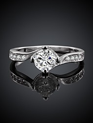 Sweet Round Shape Silver Plated Zircon Ring(Silver)(1Pc)