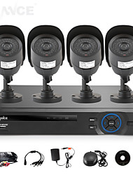 SANNCE® 8CH AHD-L DVR w/ eCloud HDMI 1080P/VGA/BNC Output  4pcs 800TVL CMOS 42LEDS Day/Night IR-cut Cameras IP66(NO HDD)