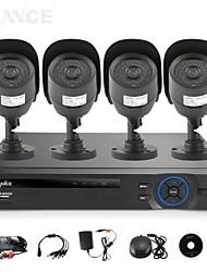 SANNCE 4CH AHD-L DVR w/ eCloud HDMI 1080P/VGA/BNC Output  4pcs 800TVL CMOS 42LEDS Day/Night IR-cut Cameras IP66(NO HDD)