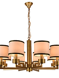 New style,Elegant Fashion Modern 8 Lights Golden Wrought Iron  New Chinese Style Cloth Art Chandelier