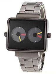 Men's Dual Time Display Black Square Dial Steel Band Quartz Wrist Watch