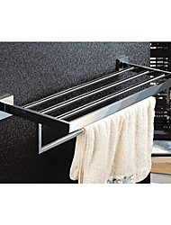 Bathroom Polished Stainless Steel Wall Mounted Square Towel Shelf with Bar